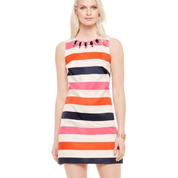 e9598c9bb02823 Vince Camuto Jeweled Striped Sheath Dress